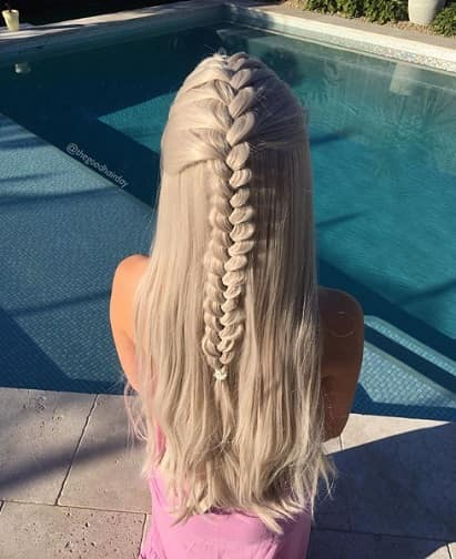 Half Up French Braids Hairstyle for shoulder Length hair