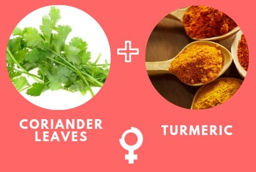 Coriander leaves and Turmeric to remove Dark Circles Permanently