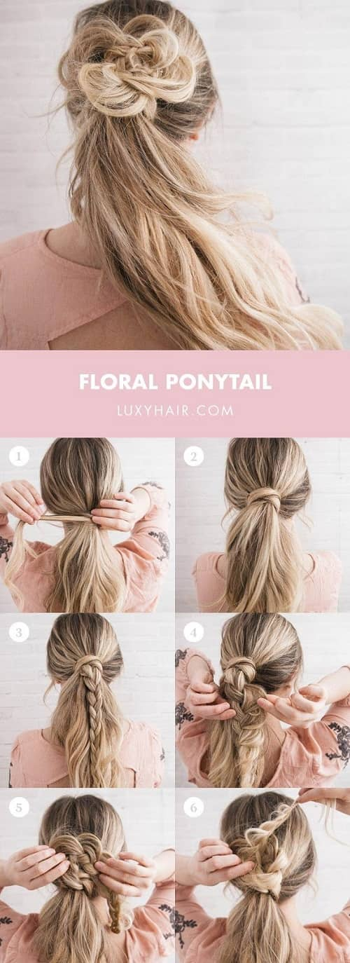Floral Ponytail Hairstyle For Teens