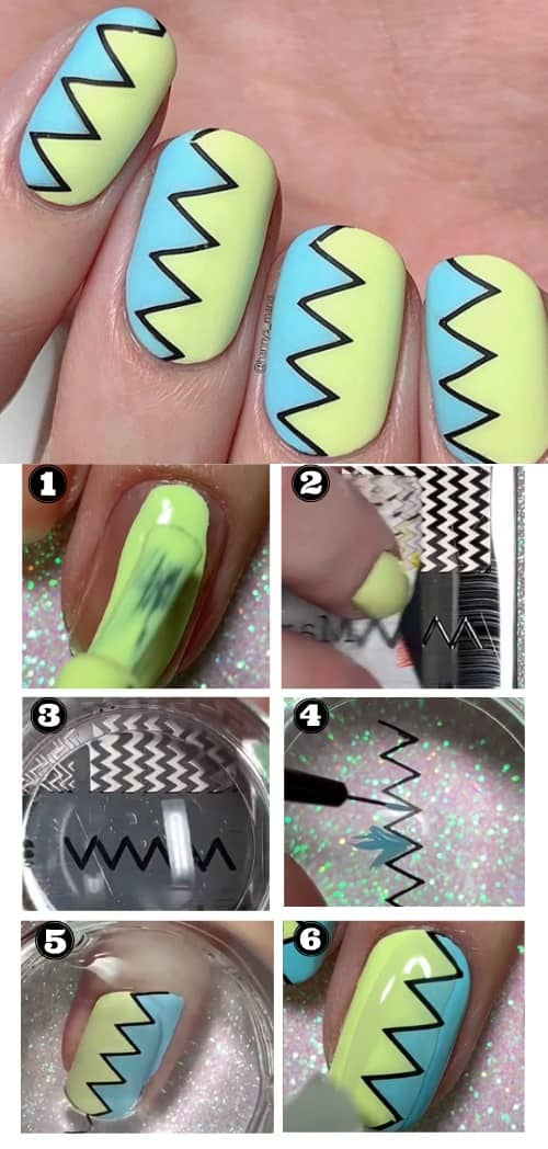 Vertical Chevron Nail Art Design