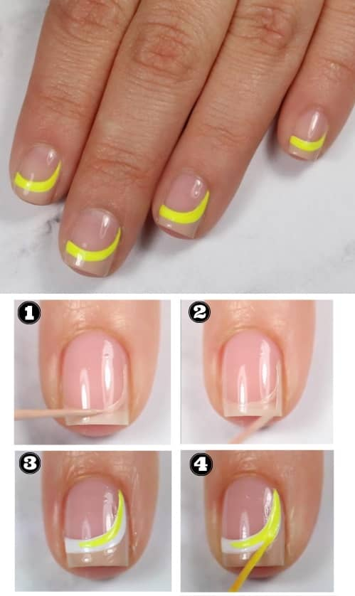 Yellow Crescent Nails