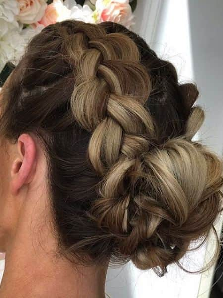 Double Top Braid Messy Bun