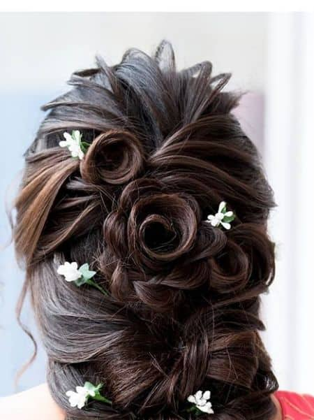 Messy Bun with Rose Embellishment