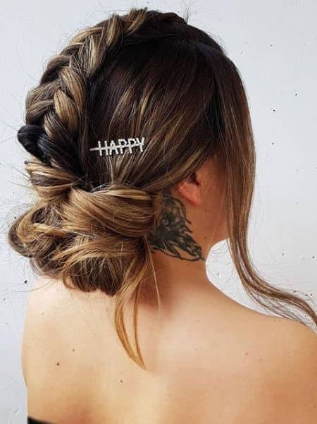 Elegant Top Braid with Low Sock Messy Bun