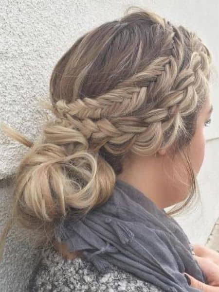 Double Side Braid Messy Bun with Whimsical Touch